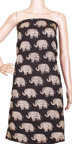 Kalamkari Crepe Silk Salwar Tops/Kurti material with Beautiful Elephants - Black (36024A), Tops - Swadeshi Boutique