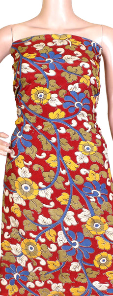 Kalamkari Crepe Silk Salwar Tops/Kurti material with Florals - Red (36001A) *SALE 30% OFF*, Tops - Swadeshi Boutique