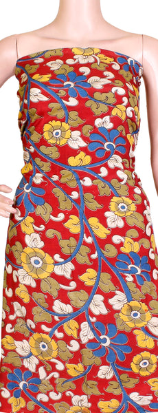 Kalamkari Crepe Silk Salwar Tops/Kurti material with Florals - Red (36001A), Tops - Swadeshi Boutique