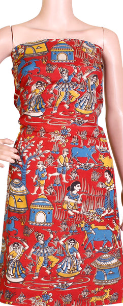 Kalamkari Crepe Silk Salwar Tops/Kurti material with Village Theme - Red (36002A)