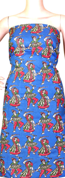 Kalamkari crepe Silk Salwar Tops/Kurti material with Dhandiya Dance (36003B) *SALE 30% OFF*, Tops - Swadeshi Boutique