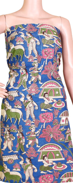 Kalamkari Crepe Silk Salwar Tops/Kurti material with Village Theme - Blue (36004A), Tops - Swadeshi Boutique