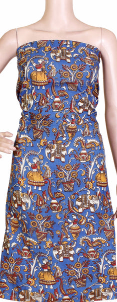 Kalamkari Crepe Silk Salwar Tops/Kurti material with Village Theme - Blue (36005A)