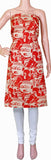 * Clearance SALE * Kalamkari Crepe Silk Salwar Tops/Kurti material with Bhuddha faces - Red (36017A)