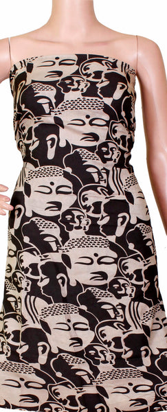 Kalamkari Crepe Silk Salwar Tops/Kurti material with Bhuddha faces - Black (36017C)*Clearance sale *, Tops - Swadeshi Boutique