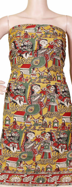 Kalamkari Crepe Silk Salwar Tops/Kurti material with Village theme - Yellow (36018A)