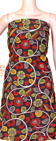 Kalamkari crepe Silk Salwar Tops/Kurti material with Beautiful Florals (36022A) *SALE 30% OFF*, Tops - Swadeshi Boutique