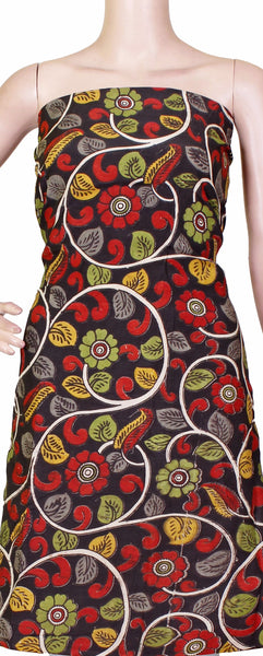 Kalamkari Crepe Silk Salwar Tops/Kurti material with Beautiful Florals - Black (36022A)