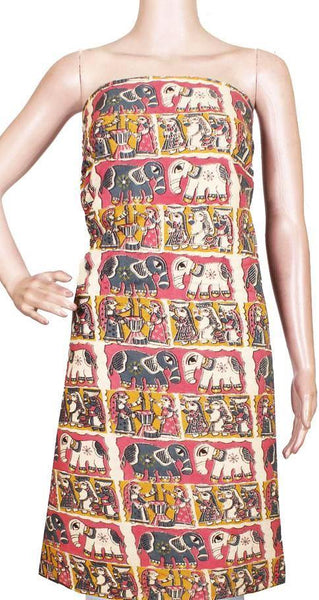 Kalamkari Crepe Silk Salwar Tops/Kurti material with Elephants -  (36025A)