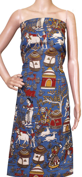 Kalamkari Crepe Silk Salwar Tops/Kurti material with Village theme -  (36030A), Tops - Swadeshi Boutique