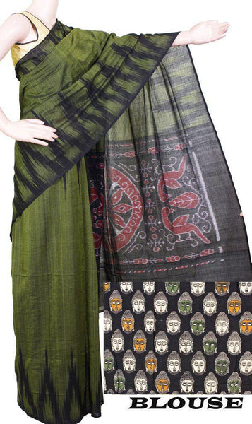 Ikat handloom cotton saree with a temple border with a Kalamkari blouse - (37002B), Sarees - Swadeshi Boutique