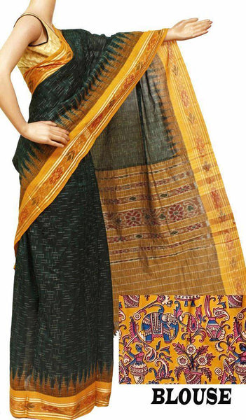 Ikat Handloom Cotton Saree with a beautiful self-design body and temple border - 37005B
