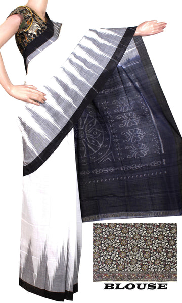 Ikat Handloom Cotton Saree with a beautiful temple border - 37008A