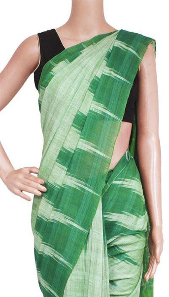IKAT Handloom Cotton Saree with temple border - 37033A  *Sale 50% Off* - Swadeshi Boutique