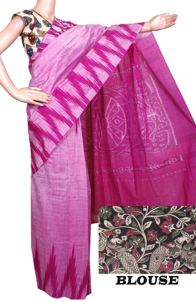 Ikat Handloom Cotton Saree with a beautiful temple border - 37009A