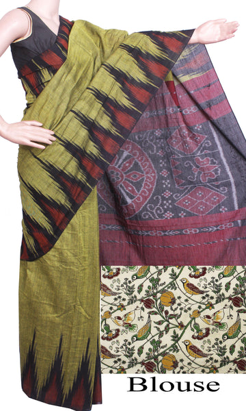 * Rs.100 off * IKAT Handloom Cotton Saree with a beautiful temple border - 37015E, Sarees - Swadeshi Boutique