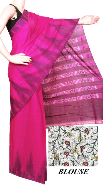 IKAT Handloom Cotton Saree with a beautiful temple border [magenta] - 37016A, Sarees - Swadeshi Boutique