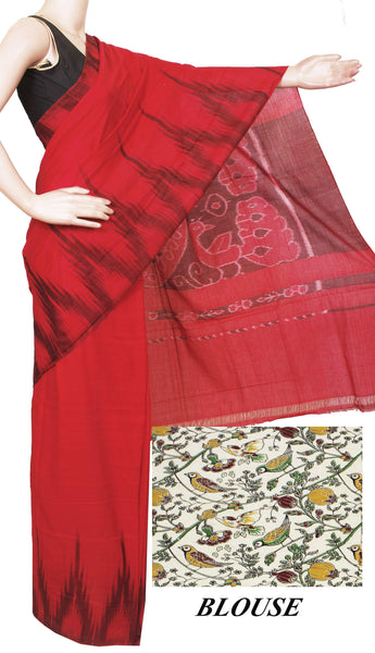 IKAT Handloom Cotton Saree with a beautiful temple border - 37017A