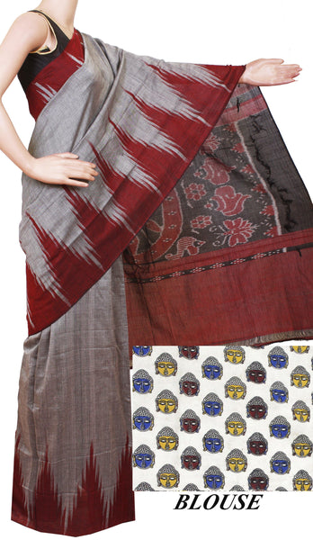 * Intro offer Rs.200 off * IKAT Handloom Cotton Saree with a beautiful temple border - 37022A