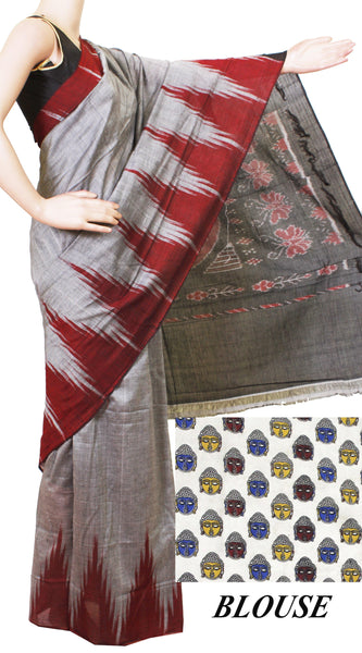 * Intro offer Rs.200 off * IKAT Handloom Cotton Saree with a beautiful temple border - 37022B