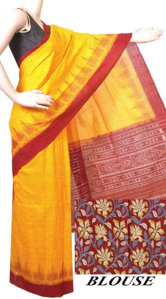 Ikat Handloom Cotton Saree with a beautiful temple border & a matching Kalamkari blouse - 37027A