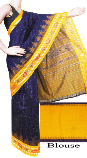 Ikat Handloom Cotton Saree with a beautiful rich dye, temple border & a matching Ikkat blouse - 37030A