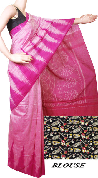 * Intro price Rs.200 off * IKAT Handloom Cotton Saree with a beautiful temple border - 37035A, Sarees - Swadeshi Boutique