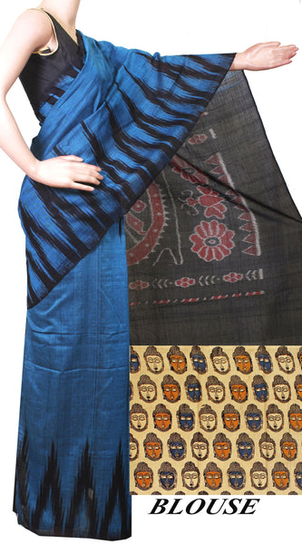 * Intro price Rs.200 off * IKAT Handloom Cotton Saree with a beautiful temple border - 37036A, Sarees - Swadeshi Boutique