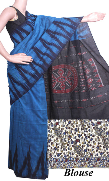 IKAT Handloom Cotton Saree with a beautiful temple border - 37036C