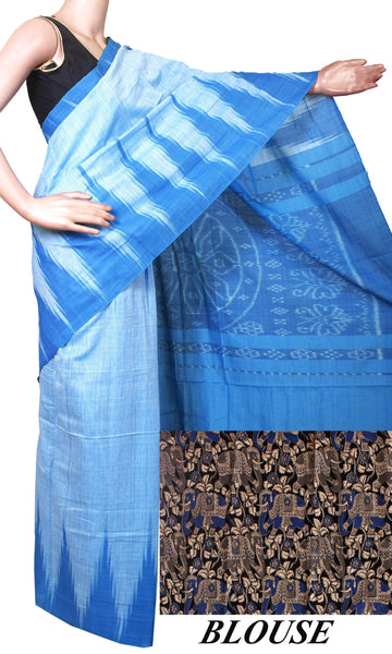 IKAT Handloom Cotton Saree with a beautiful temple border - 37039A, Sarees - Swadeshi Boutique