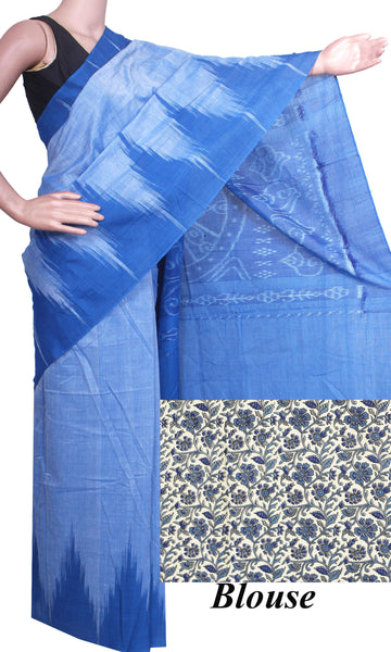 IKAT Handloom Cotton Saree with a beautiful temple border - 37039B, Sarees - Swadeshi Boutique