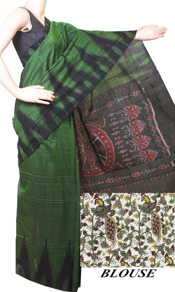 IKAT Handloom Cotton Saree with a beautiful temple border & a matching Kalamkari blouse [green] - 37040A