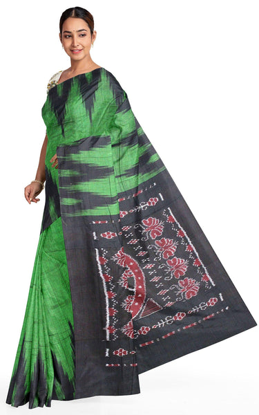 IKAT Handloom Cotton Saree with a temple border & a matching Kalamkari blouse [green] - 37040A *Sale Rs.200 Off*, Sarees - Swadeshi Boutique