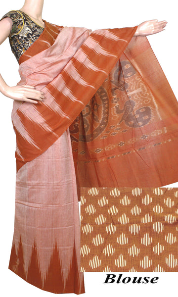 IKAT Handloom Cotton Saree with a beautiful temple border & a matching Ikkat blouse [Brown] - 37044A, Sarees - Swadeshi Boutique