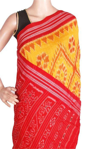 IKAT Handloom Cotton Saree with temple border & a matching Ikkat blouse - 37046C, Sarees - Swadeshi Boutique