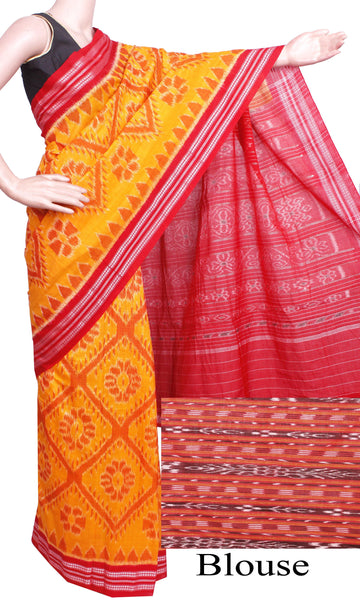 IKAT Handloom Cotton Saree with a beautiful temple border & a matching Ikkat blouse - 37046C, Sarees - Swadeshi Boutique