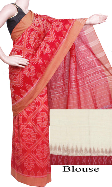 IKAT Handloom Cotton Saree with temple border & a matching Ikkat blouse  - 37046D, Sarees - Swadeshi Boutique