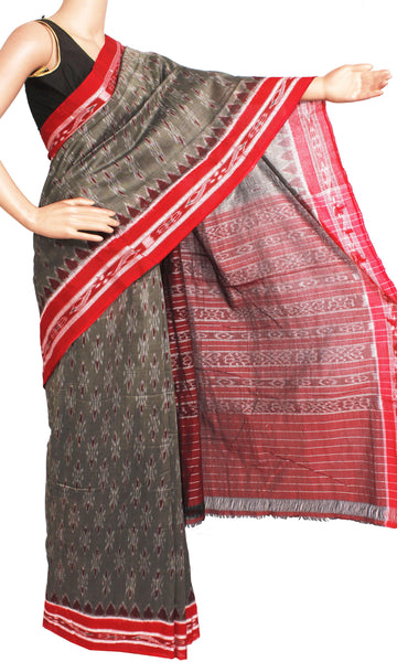 IKAT Handloom Cotton Saree with a beautiful temple border & a matching Kalamkari blouse [Grey] - 37049A