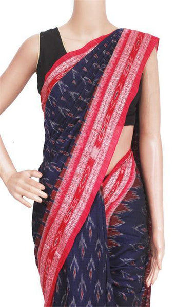 IKAT Handloom Cotton Saree with temple border & a matching Ikkat blouse [Navy Blue] - 37048A, Sarees - Swadeshi Boutique
