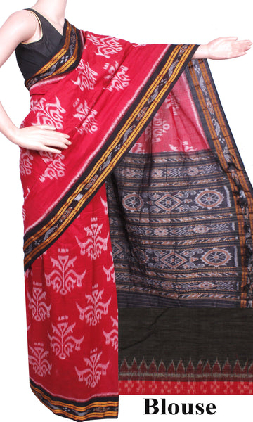 IKAT Handloom Cotton Saree with self-design & trees in Body with a matching Ikkat Blouse  [Red & Black] - 37051D, Sarees - Swadeshi Boutique