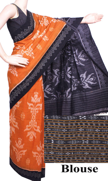 IKAT Handloom Cotton Saree with a beautiful BOMKAI design & a matching Ikkat Blouse  - 37051F