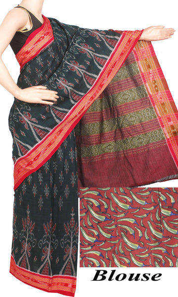 IKAT Handloom Cotton Saree with temple border & a Kalamkari blouse [Dark Green] - 37052A, Sarees - Swadeshi Boutique