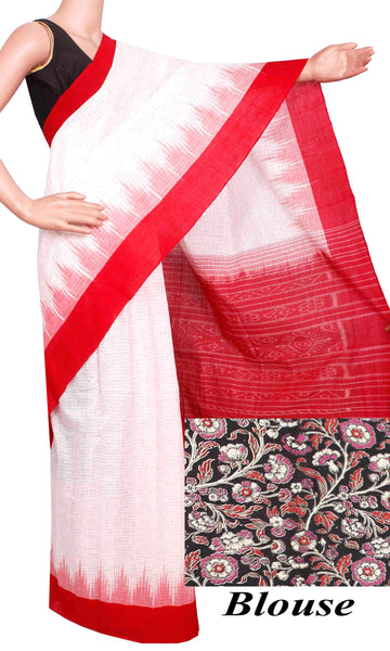 IKAT Handloom Cotton Saree with a beautiful temple border & a matching Kalamkari blouse [White & Red] - 37054A