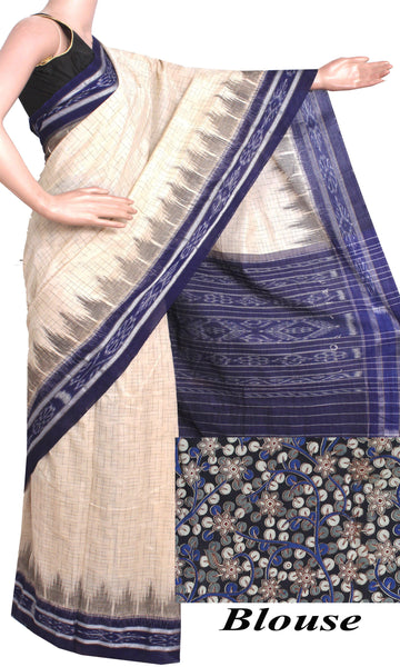 IKAT Handloom Cotton Saree with a beautiful temple border & a matching Kalamkari blouse [Cream & Blue] - 37055A