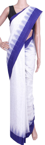 IKAT Handloom Cotton Saree with a beautiful temple border & a matching Ikkat Blouse  [White & Blue] - 37055B