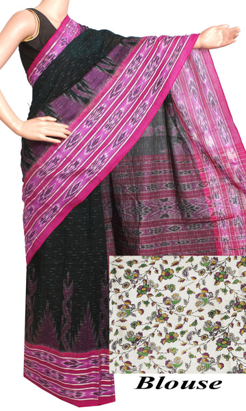 IKAT Handloom Cotton Saree with a beautiful temple border & a matching Kalamkari blouse [Green & Pink] - 37057A