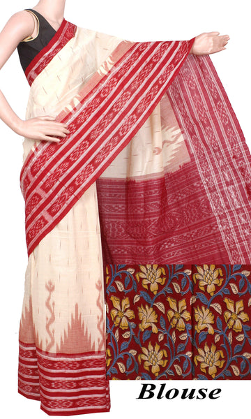 IKAT Handloom Cotton Saree with a beautiful temple border & a matching Kalamkari blouse [Cream & Maroon] - 37057B