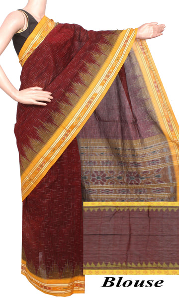 IKAT Handloom Cotton Saree with a beautiful temple border & a matching Ikkat blouse [Maroon & Yellow] - 37058A