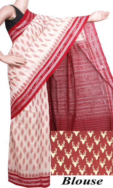 IKAT Handloom Cotton Saree with a beautiful temple border & a matching Kalamkari blouse [Cream & Maroon] - 37062A