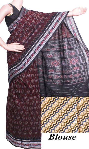 IKAT Handloom Cotton Saree with a beautiful temple border & a matching Kalamkari blouse  - 37065A